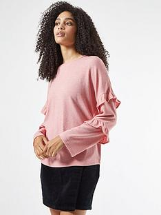 dorothy-perkins-ruffle-sleeve-brushed-top-pink