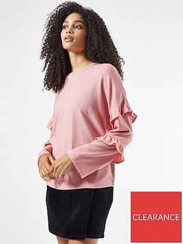 dorothy-perkins-ruffle-sleeve-brushed-top-pink