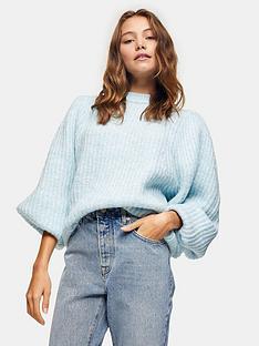 topshop-statement-sleeve-knittednbspjumper--nbspblue