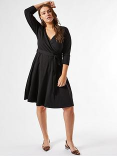 dorothy-perkins-curvenbsp34-sleeve-wrap-dress-black