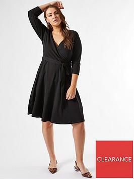 dorothy-perkins-curvenbsp34-sleeve-wrap-dress-black