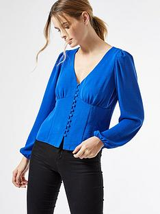 dorothy-perkins-long-sleeve-button-through-top-cobalt
