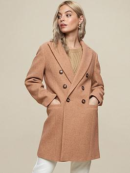 dorothy perkins petite minimal shawl collar coat - camel