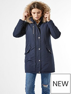 dorothy-perkins-luxe-faux-fur-trim-parka-coat-navy