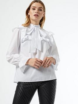 dorothy perkins poplin victorina long sleeve top - white, white, size 10, women
