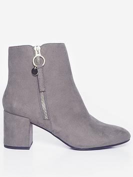dorothy perkins wide fit adaline block heel boots - grey