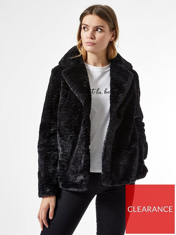 Revere Textured Faux Fur Coat Black, Ladies Black Parka Coats Dorothy Perkins