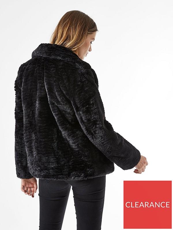 Revere Textured Faux Fur Coat Black, Ladies Black Fur Coat Dorothy Perkins