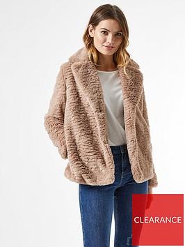 dorothy-perkins-revere-collar-textured-faux-fur-coat-mink