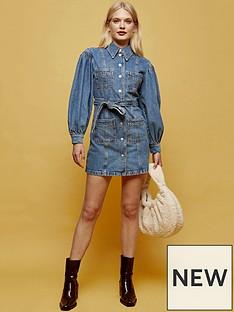 topshop-puff-sleeve-mini-dress-blue