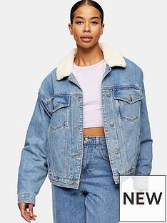 topshop-oversized-shearling-trimmed-denim-jacket-blue