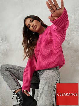 missguided-missguided-chunky-crew-neck-branded-jumper-pink