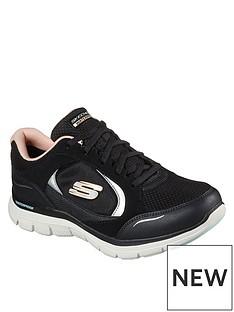 skechers-flex-appeal-40-waterproof-layered-lace-up-trainer-black