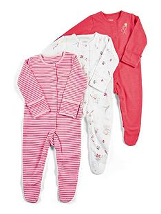 mamas-papas-baby-girls-3-pack-fairy-sleepsuits-red