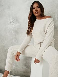 missguided-missguided-popcorn-off-the-shoulder-jumper-cream