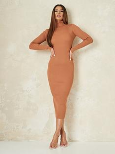 missguided-missguided-roll-neck-midaxi-dress-tan