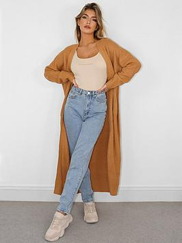 Missguided Missguided Longline Patch Pocket Cardigan - Camel