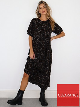 missguided-missguided-puff-sleeve-smock-midi-dress-black