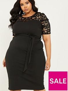 quiz-curve-lace-puff-sleeve-scuba-crepe-midi-dress-black