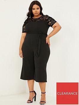 quiz-curve-lace-puff-sleeve-scuba-crepe-culotte-jumpsuit-black