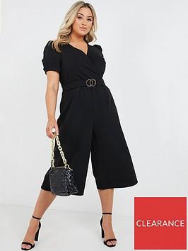 quiz-curve-buckle-detail-wrap-culotte-jumpsuit-black