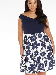 quiz-curve-two-in-one-skater-dress-navycream