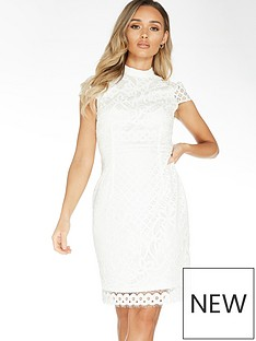 quiz-lace-contrast-lining-midi-dress-white