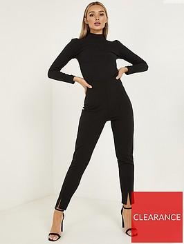 quiz-scuba-crepe-split-straight-leg-trousers-black