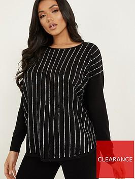 quiz-knit-diamante-line-jumper-blacknbsp