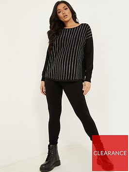 quiz-knit-ribbed-cuff-hem-leggings-blacknbsp