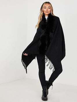 quiz-cape-with-faux-fur-collar-black