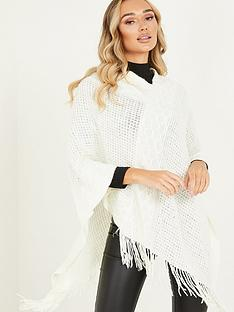 quiz-diamond-knit-poncho-with-tassels-cream