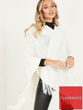 quiz-diamond-knit-poncho-with-tassels-cream