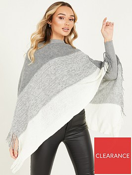 quiz-striped-poncho-grey