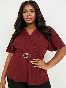 quiz-curve-rib-buckle-detail-short-sleeve-wrap-top-berry