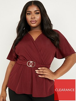 quiz-curve-rib-buckle-detail-short-sleeve-wrap-top-berry