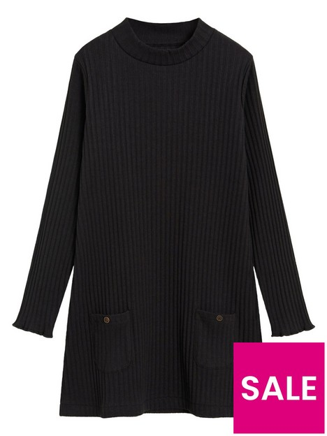 mango-girls-ribbed-knitted-dress-black