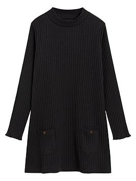 mango-girls-ribbed-knitted-dress-black