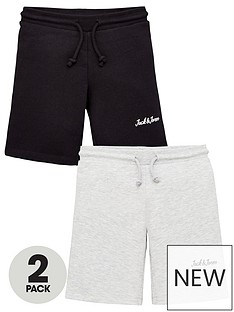 jack-jones-junior-boys-2-pack-sweat-shorts-blacklight-grey-marl