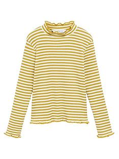 mango-girls-stripe-roll-neck-top-mustard