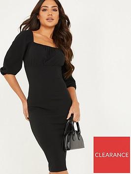 quiz-ruched-bodycon-midi-dress-black