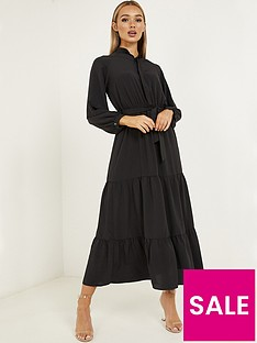 quiz-chiffon-tiered-button-front-midaxi-dress-black