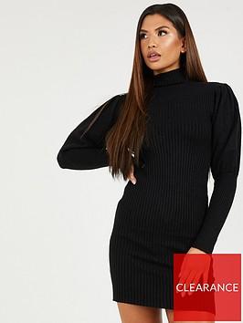 quiz-black-knit-long-sleeve-midi-dress