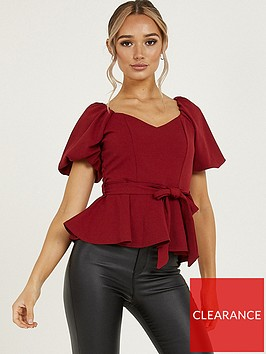 quiz-scuba-crepe-puff-sleeve-peplum-top-wine