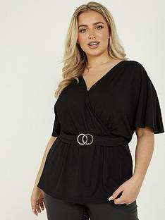 quiz-curve-rib-buckle-detail-short-sleeve-wrap-top-black