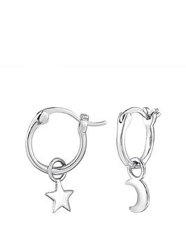 the-love-silver-collection-sterling-silver-star-and-moon-mismatched-hoop-earrings