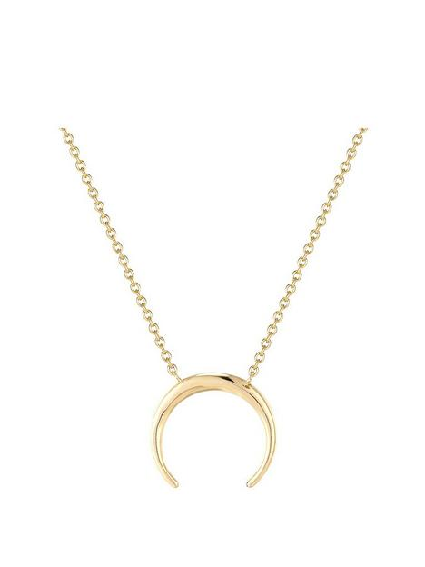 the-love-silver-collection-18ct-gold-plated-sterling-silver-tusk-pendant-necklace