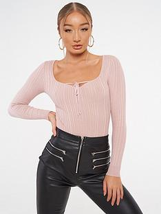 missguided-missguided-tie-front-bodysuit-blush