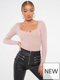 missguided-tie-front-bodysuit
