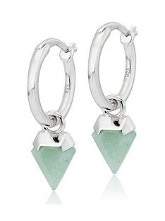 beaverbrooks-silver-aventurine-charm-hoop-earrings